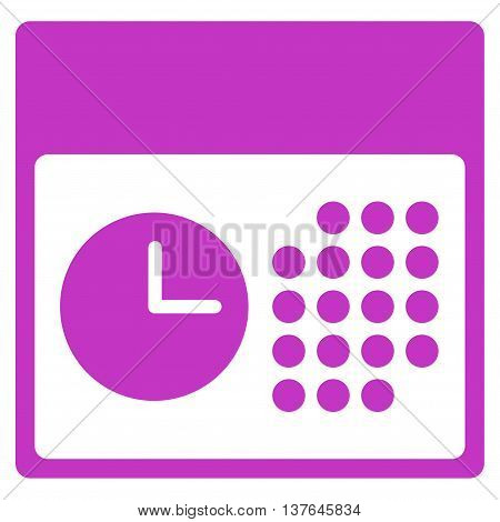 Time And Date vector icon. Style is flat symbol, violet color, rounded angles, white background.