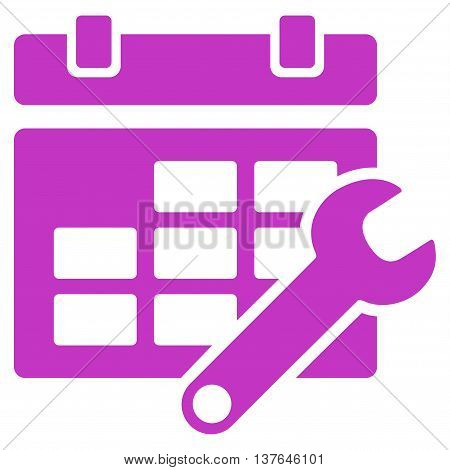 Timetable Preferences vector icon. Style is flat symbol, violet color, rounded angles, white background.