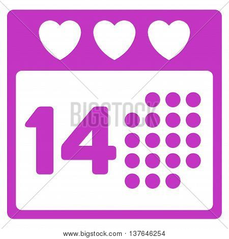 Valentine Love Day vector icon. Style is flat symbol, violet color, rounded angles, white background.