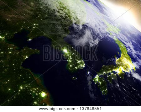 South Korean And North Korea From Space During Sunrise