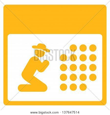 Pray Binder vector icon. Style is flat symbol, yellow color, rounded angles, white background.
