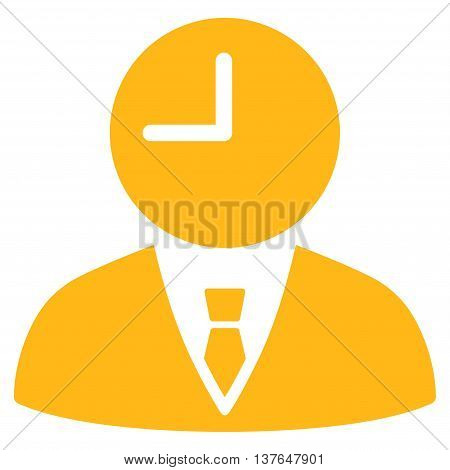 Time Manager vector icon. Style is flat symbol, yellow color, rounded angles, white background.