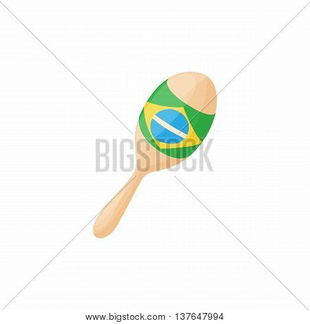 Brazilian maracas icon in cartoon style isolated on white background. Musical instrument symbol