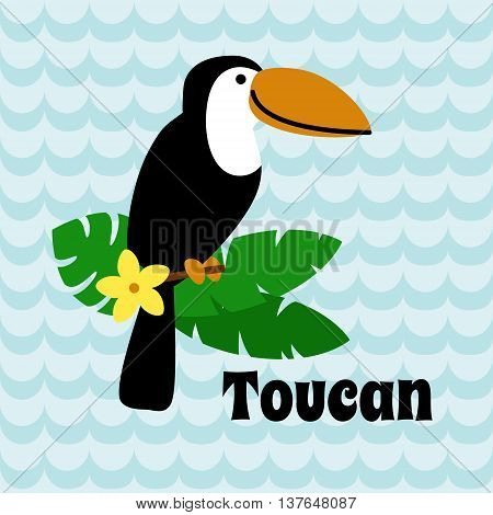 Cute Cartoon Toucan on blue wave background. May be used for alphabet. Art vector illustration.