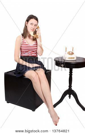 Teen Talking On Old Fashioned Phone