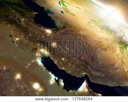 Iran From Space During Sunrise