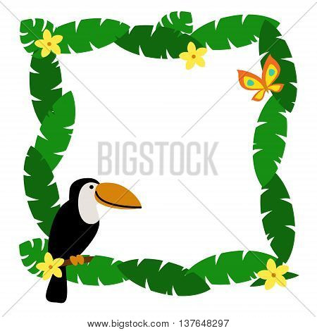 Border with palm leaves and cute cartoon smiling toucan isolated on white background. Art vector illustration.