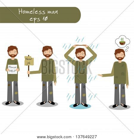 Homeless man begging for money, job, food, help. Vector illustration of beggar character