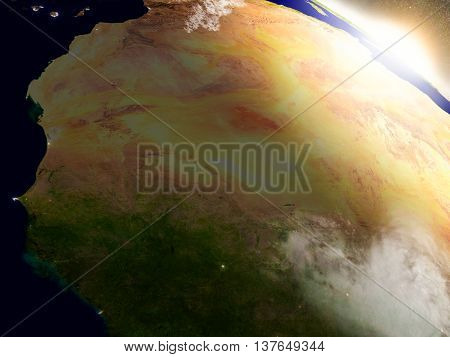 Mali And Senegal From Space During Sunrise