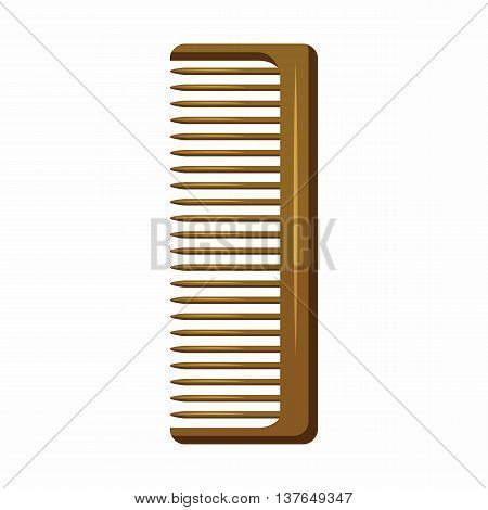 Wooden hairbrush icon in cartoon style isolated on white background. Accessories symbol
