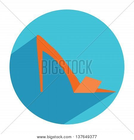 Woman fashion shoes on high heels icon in flat style with long shadow