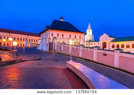 One of the preserved buildings of the Saviour-Transfiguration Monastery of the Kazan Kremlin at sunset