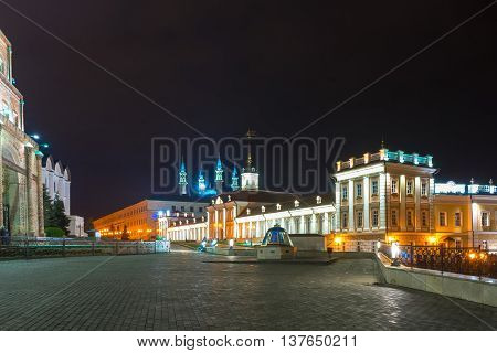 In Kazan Kremlin at night near the ancient mausoleum of Kazan khans