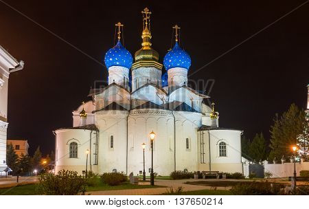 Cathedral of the Annunciation in Kazan Kremlin at night