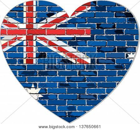 Flag of Australia on a brick wall in heart shape - Illustration, Australian national flag in brick style,  Abstract grunge Australia flag