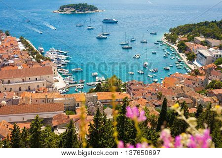 Hvar harbor from the Spanish fortress in Croatia