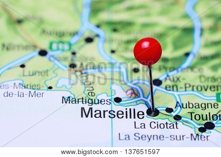 Marseille pinned on a map of France