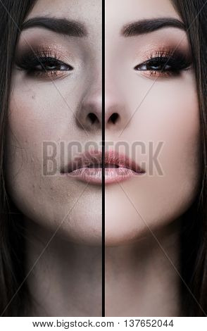 Woman face, half  digitaly retouched , before and after, Asian woman or mixed race