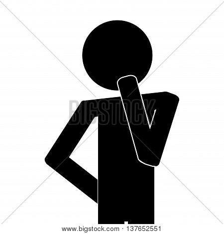 icon of man think thinking isolated vector illustration