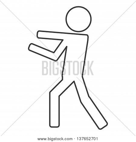Icon of person fight boxing isolated vector illustration