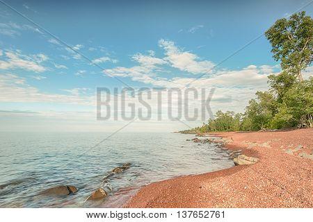 Lake Superior shoreline at Hunters Point Park, Copper Harbor, Michigan.
