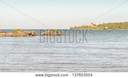 Copper Harbor Lighthouse on Lake Superior, Copper Harbor, Michigan.
