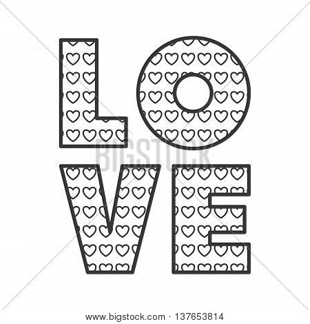 love word with heart shape isolated vector illustration
