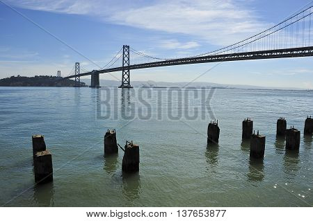 This is a photo of the San Francisco Bay Bridge.