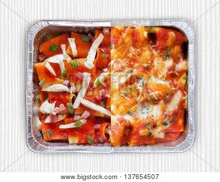 Baked pasta with tomato sauce mozzarella bacon and basil. Italian culinary specialties. Cooked / uncooked together. View from above.