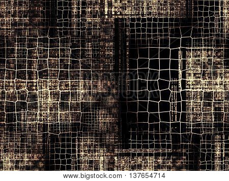 Abstract tech background - computer-generated image. Classic fractal geometry: chaos lattices of different sizes at random locations repetitive. Technology backdrop for banners, web design, covers