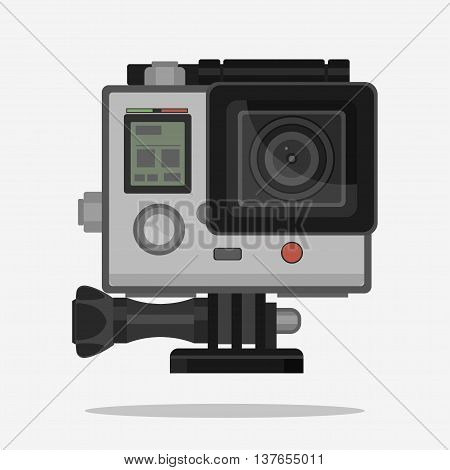 Camera for active Extreme sports in waterproof case. Ultra HD. 4K, high definition photo video go pro action cam lens, flat vector