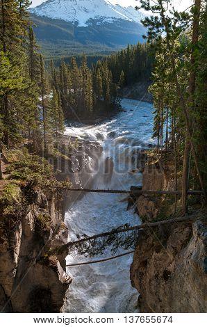 View of Sunwapta Falls in Jasper National Park.