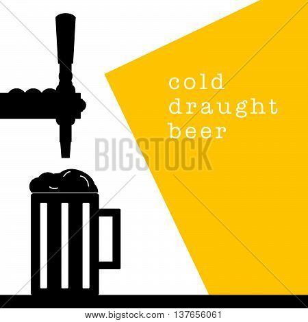 beer tap with mug drink cold illustration on white background