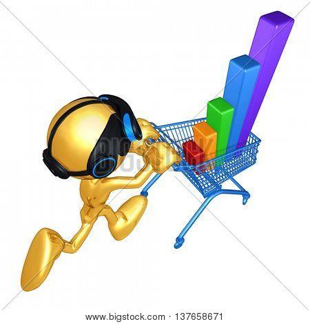 Virtual Reality VR Bar Graph In Shopping Cart 3D Illustration