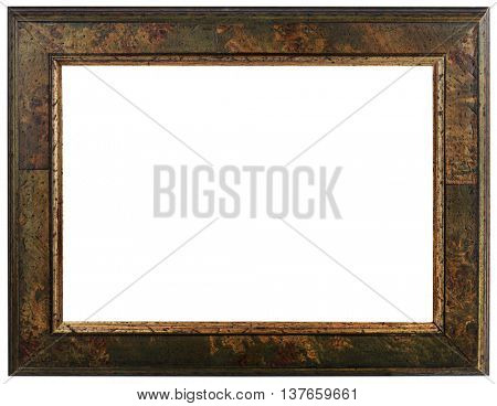 Wooden Picture Frame Cutout. Vintage Mirror Isolated on White Background