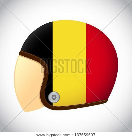 Vector stock of retro classic motorcycle helmet with Belgium flag