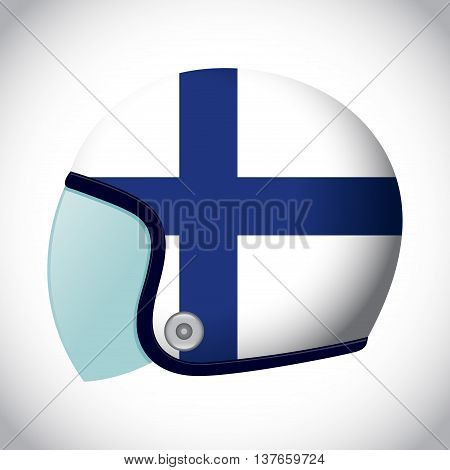 Vector stock of retro classic motorcycle helmet with Finland flag