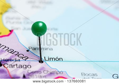 Limon pinned on a map of Costa Rica