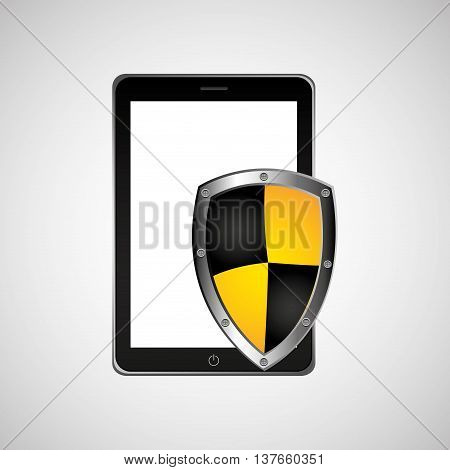 security technology padlock system cellphone smartphone isolated, vector illustration