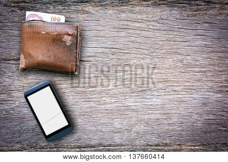 Mobile phone and wallet on a wooden floor