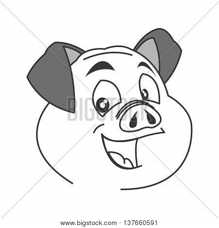 flat design pig cartoon icon vector illustration