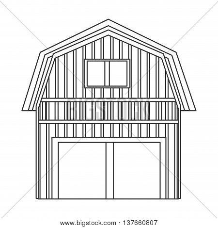flat design wooden barn icon vector illustration