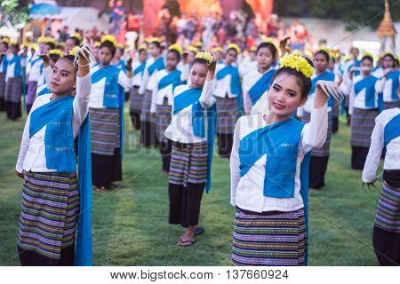 Lamphun Thailand - May 13 2016 : Folk Dance Traditional dances at Ritual Bathing Ceremony for Phra That Hariphunchai Chedi At Wat Phra That Hariphunchai Chedi Thailand. May 13 2016.