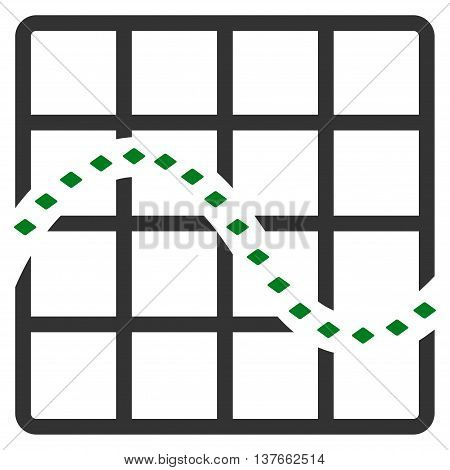 Dotted Function Chart vector toolbar icon. Style is bicolor flat icon symbol, green and gray colors, white background, rhombus dots.