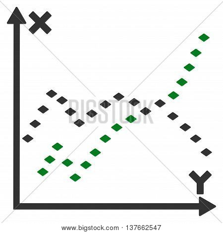 Dotted Functions Plot vector toolbar icon. Style is bicolor flat icon symbol, green and gray colors, white background, rhombus dots.