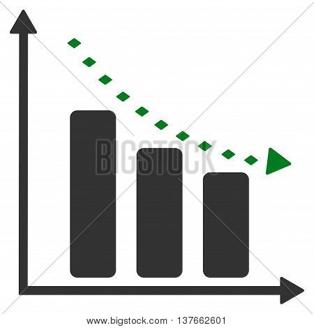 Dotted Negative Trend vector toolbar icon. Style is bicolor flat icon symbol, green and gray colors, white background, rhombus dots.