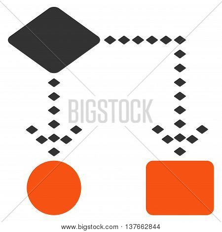 Algorithm Scheme vector toolbar icon. Style is bicolor flat icon symbol, orange and gray colors, white background, rhombus dots.