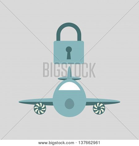 ensure protection insurance risk airplane isolated, vector illustration