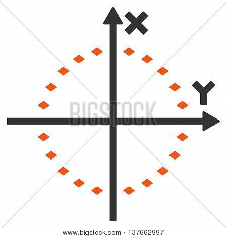 Dotted Circle Plot vector toolbar icon. Style is bicolor flat icon symbol, orange and gray colors, white background, rhombus dots.