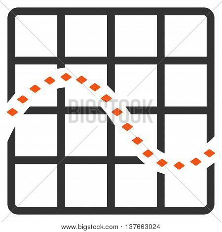 Dotted Function Chart vector toolbar icon. Style is bicolor flat icon symbol, orange and gray colors, white background, rhombus dots.